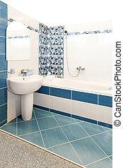 azul, baño