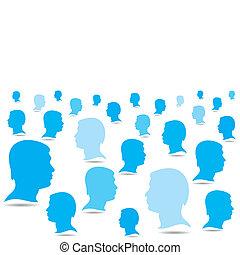 azul, backgrou, negócio, torcida, pessoas