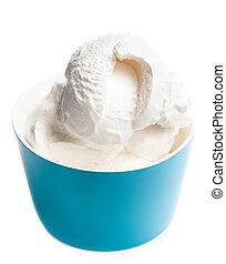 azul, backgroun, vainilla, tazón, aislado, hielo, blanco, nata blanda
