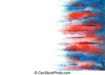 azul, background:, abstratos, mão, aquarela, desenhado, borrões, vermelho
