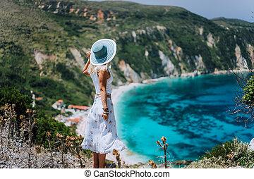 azul, bahía, mujer, petani, pintoresco, hills., panorama,...