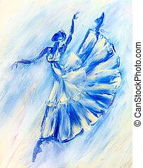 azul, bailarina, pintura al óleo, lona
