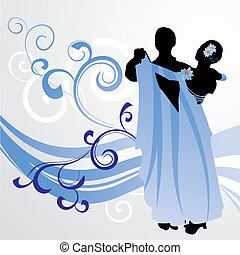 azul, baile, salón de baile, onda