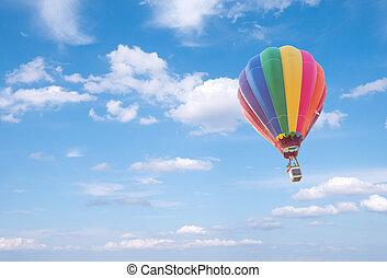 azul, balão, nuvens, céu, ar, quentes, fundo