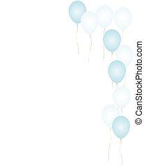 azul, balões, borda