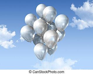 azul, balões, céu branco