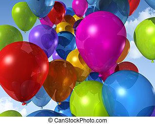 azul, balões, céu, colorido