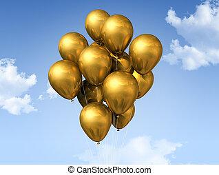azul, balões, céu, ouro
