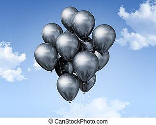 azul, balões, céu, prata