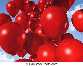 azul, balões, céu, vermelho