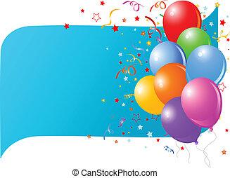 azul, balões, cartão, coloridos