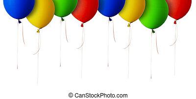 azul, balões, verde amarelo, borda, vermelho