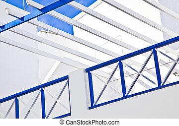 azul, balcón, cielo, debajo
