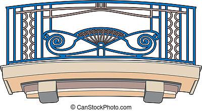 azul, balcón