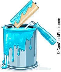 azul, balde, lata pintura, manutenção, quadro, rolo