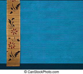 azul, bambú, flor, bandera