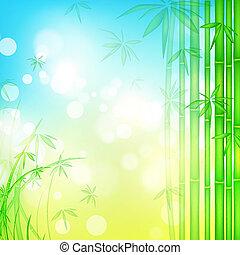 azul, bambu, céu, floresta