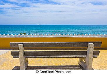 azul, banco madeira, bonito, vazio, convés, costa mar