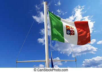 azul, bandeira, italiano, céu, náutico
