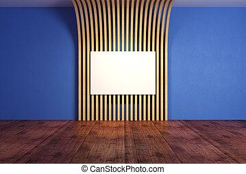azul, bandeira, sala