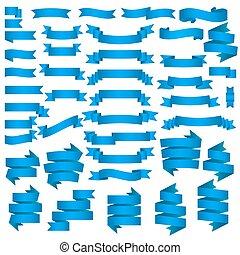 azul, bandeiras, jogo, fitas