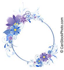 azul, bandera, con, flores, hojas, y, ornamento
