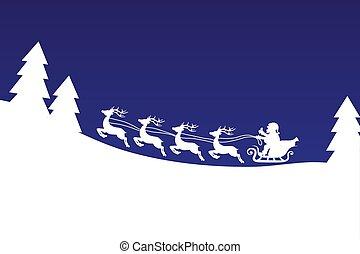 azul, bandera, encima, vuelo, cielo, ilustración, reno, vector, bosque, santa, noche, navidad, acción