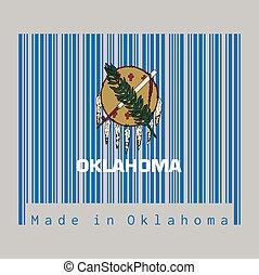 azul, bandera, hecho, text:, protector, buffalo-skin, color, oklahoma, siete, águila, conjunto, oklahoma., barcode, cielo, field., plumas
