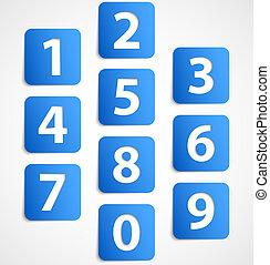 azul, banderas, números, diez, 3d