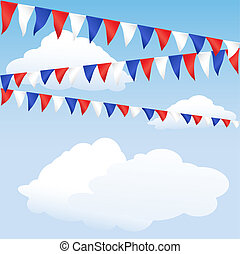 azul, banderitas, rojo blanco
