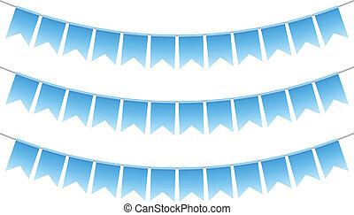 azul, banderitas, vector, ilustración