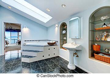 azul, banheira, banheiro, chão, banho, mestre, azulejo, canto, Mármore