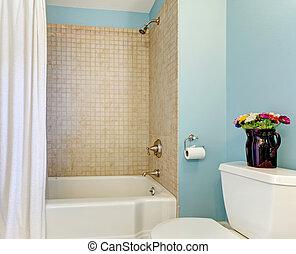 azul, banheiro, shower., banheira