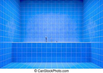 azul, banheiro, vista lateral, para, a, banheira