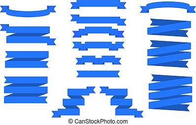 azul, banners., jogo, vetorial, ribbons.