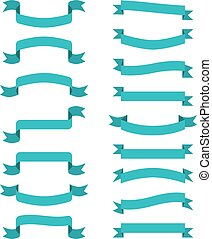 azul, banners., vetorial, fitas, scroll, wavin