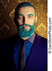 azul, barba, homem
