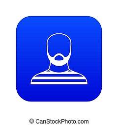 azul, barbudo, digital, traje, prisão, ícone, homem