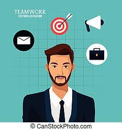 azul, barbudo, negócio, trabalho equipe, fundo, paleto, homem