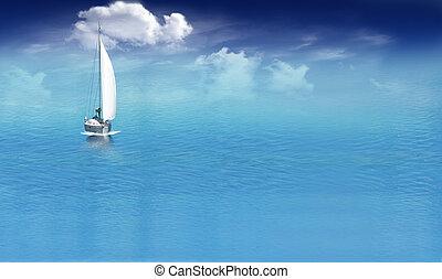 azul, barco, mar, Navegación