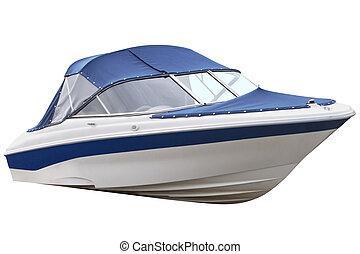 azul, barco,  motor