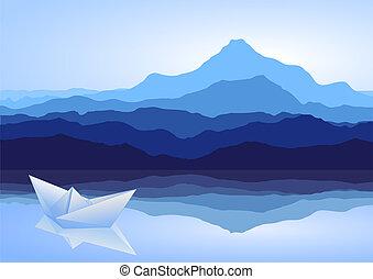 azul, barco, papel, lago, montañas
