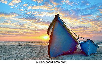 azul, barcos, pescador