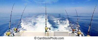 azul, barra, panorámico, barco, pesca, mar, revolviendo,...