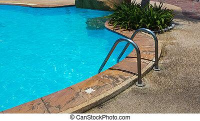 azul, barras, escada, agarramento, piscina, natação