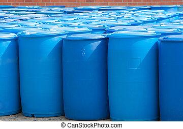 azul, barriles