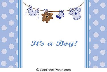 azul, bebé, niño, anuncio