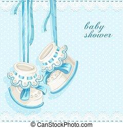 azul, bebé, tarjeta, saqueos, ducha