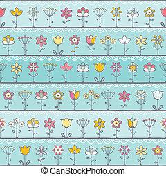 azul bebê, fundo, com, cute, flores