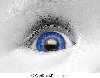 azul bebê, olho